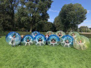 Bumper bubbel voetbal in Rotterdam Kralingse bos Kralingen Euromast park
